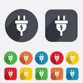 Electric plug sign icon
