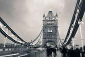 Tower Bridge in London as the famous landmark in black and white
