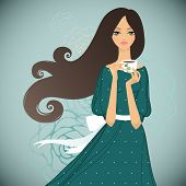 Girl with cup of tea on floral background