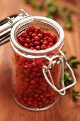 Pink Peppercorns In Spice Jar