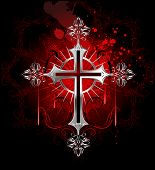 stock photo of art gothic  - jewelry Gothic silver cross on a black background decorated with a pattern - JPG