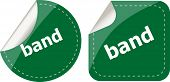 Band Word On Stickers Button Set, Label, Business Concept
