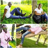 Positive young african american man in a park collage