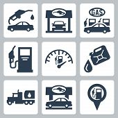 picture of gasoline station  - Vector gas station icons set over white - JPG
