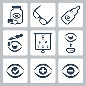 image of snellen chart  - Vector isolated optometry icons set over white - JPG