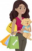 Illustration of a Woman Carrying a Cute Dog Shopping for Pet Supplies