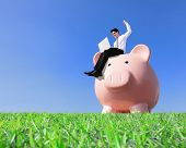 foto of piggy  - Happy Saving Money with my piggy bank  - JPG