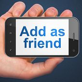 Social media concept: Add as Friend on smartphone