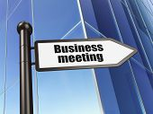 Business concept: sign Business Meeting on Building background