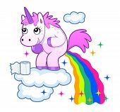 image of poop  - Smiling unicorn pooping a rainbow on the sky - JPG