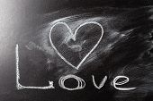 Love Heart Drawing On A School Chalkboard