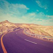 picture of golan-heights  - Asphalt Road on the Golan Heights in Israel Photo Filter - JPG