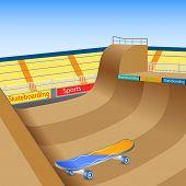 image of skate board  - vector illustration of skate boarding ground with board - JPG