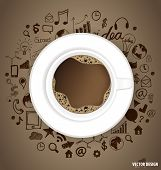 A cup of coffee with application icon. Vector illustration.