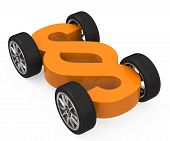 picture of four-wheel drive  - a 3d generated paragraph sign with four wheels - JPG