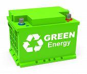 foto of accumulative  - 3d generated picture of a green energy accumulator - JPG