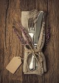 image of knife  - Autumn table setting with knife and fork - JPG