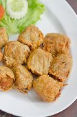 image of crab-cakes  - deep fried crab meat roll cake on white dish chinese food
