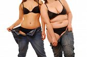 stock photo of fat woman  - Two women - JPG