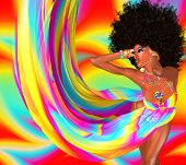 stock photo of afro  - Beautiful African woman in a colorful flowing ribbons outfit and retro afro hairstyle dancing disco 80 - JPG