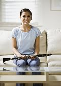foto of clarinet  - Asian girl holding clarinet - JPG
