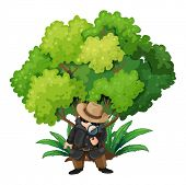 stock photo of crime solving  - Illustration of a detective near the big tree on a white background - JPG