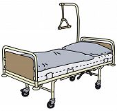stock photo of bunk-bed  - Hand drawing of a classic metal hospital bed - JPG