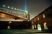 foto of tribute  - New York City downtown Brooklyn Bridge and september 11 tribute at night - JPG