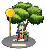 stock photo of post-teen  - Illustration of a boy biking at the road on a white background - JPG