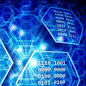 stock photo of informatics  - Abstract blue background with hexagons - JPG