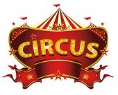 stock photo of carnival ride  - Red circus sign - JPG