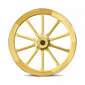 foto of wagon wheel  - Vector illustration of wooden wagon wheel - JPG