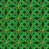 stock photo of wiccan  - stylized celtic pattern on dark green background - JPG