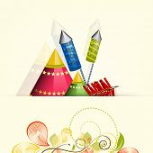 picture of diwali  - Illustration of crackers for Diwali celebration for Diwali celebration on floral decorated background - JPG