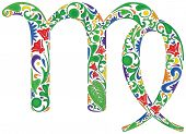 image of virgo  - Virgo zodiac sign made of colorful floral elements - JPG