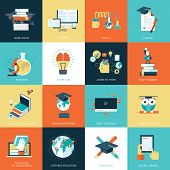 stock photo of online education  - Set of vector icons for online education - JPG