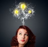 picture of lightbulb  - Pretty young woman with smoke and lightbulbs above her head - JPG