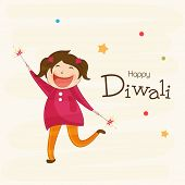 picture of diwali  - Little cute girl holding firecrackers and stylish text of Diwali for Diwali celebration on beige colour background - JPG