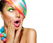 pic of colore  - Beauty Surprised Woman Portrait with Colorful Makeup - JPG