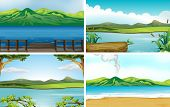 picture of sand lilies  - Illustration of four different scene of lakes - JPG