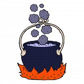 picture of witches cauldron  - retro comic book style cartoon witch - JPG