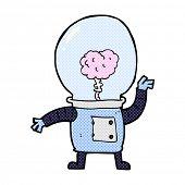 image of cyborg  - retro comic book style cartoon robot cyborg - JPG