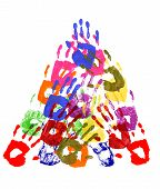 foto of human pyramid  - Pyramid pattern of child handprints made from vivid acrylic paint isolated on a white paper background - JPG
