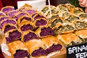 picture of stall  - filo pastry strudels at a market stall - JPG