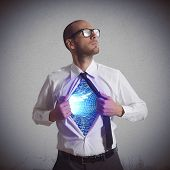 picture of heroes  - Businessman becomes a super hero of cyberspace - JPG