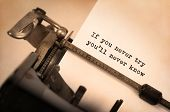 stock photo of old vintage typewriter  - Vintage inscription made by old typewriter If you never try you - JPG