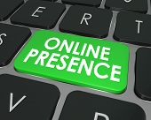 pic of key  - Online Presence words on a computer keyboard key or button to illustrate good website visibility on the Internet through good SEO or search engine optimization - JPG