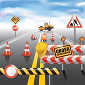 picture of road construction  - Road to horizon under construction - JPG