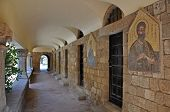 picture of filerimos  - Cloisters and Medieval Frescoes at Ialyssos monastery on the Greek island of Rhodes is built at the top of Mount Filerimos - JPG