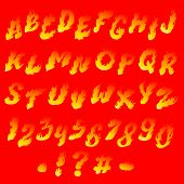 pic of fiery  - Fiery font on a bright red background - JPG